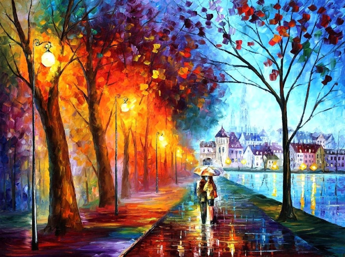 art-leonid-afremov-city-couple-couple-umbrella-umbrella-lights-houses-river-trees-park